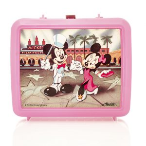 Winneconne, WI, USA - 29 March 2016: Plastic lunch box from the 1980's featuring Mickey and Minnie Mouse from Disney